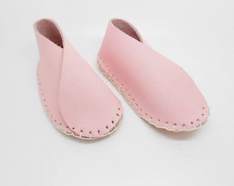 Baby Pink leather booties size 3 months