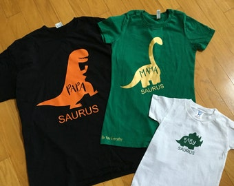 3 Dinosaur family shirts (or for babies a onesie)