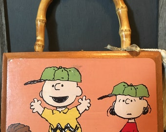 Handmade/Handpainted and Signed Peanuts Cigar Box Purse