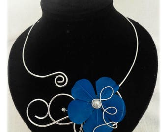 Wedding evening blue and silver necklace