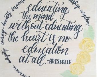 Education 8x8 wooden plaque