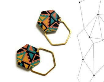 Gold Geometric Earrings, Hexagon Earrings, Earrings, Aztec, Boho - Geometric Jewelry, Laser Cut Wood, Minimalist, Modern, woman gift