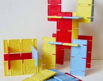 Set of Colourful Building Pieces - 1960s Plastic Construction Toy with Alphabet & Animal Designs, like Building Blocks