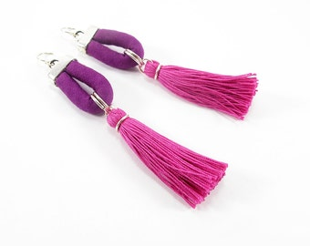 Tassel earrings, Purple and fuchsia, Sterling silver hooks, Large statement earrings, Fabric jewelry, Handmade cotton tassels, Lightweight