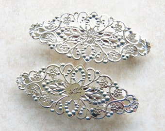 Silver Plated Filigree Floral French Hair Barrette Clips, 2 PC (IND1C124)