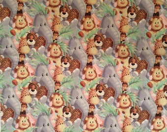 A Wonderful Patty Reed Jungle Babies All Over Cotton Fabric By The Yard Free US Shipping