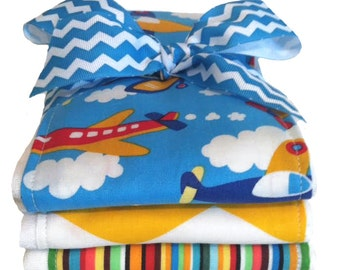 Up Up And Away Airplane Burp Cloths - Baby Shower Gift