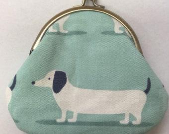 Dachshund coin purse metal clasp purse