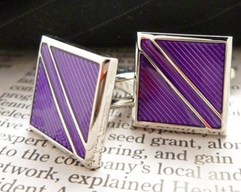 Repp Stripe Cufflinks Purple on Purple with Silver Tone Trim Cuff Links Comes with Gift Box