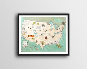 USA Map for Kids Map Art Print // Colorful Map of USA with Pictures 11x14 or 16x20 Print