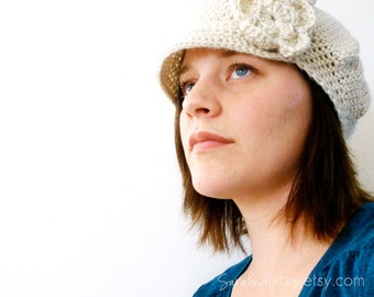 Crochet Newsboy Hat with Flower - INSTANT DOWNLOAD - Crochet Pattern PDF