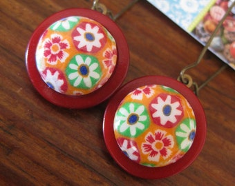 """Vintage Button """"Mod Garden"""" Dangle Earrings in Red, Orange, Lime Green and Blue Flowers"""