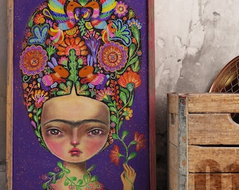 I AM NATURE. Poster from Frida Kahlo portrait painting by Danita Art. Mother nature embodied as Frida on mixed media pop surrealist wall art