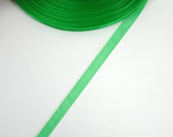 5 meters of Pine Green 10 mm organza Ribbon