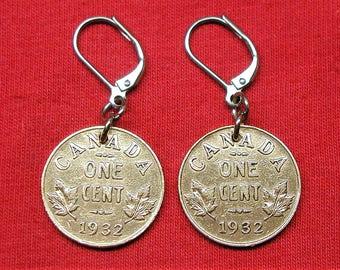 1932 real Canadian 1932 as earrings