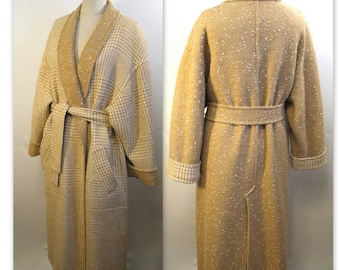 Vintage 80s Escada Wrap Coat Reversible with Matching Skirt