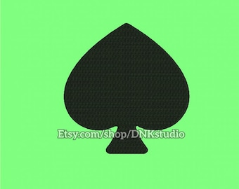 Playing Cards Spades Pikes Embroidery Design - 6 Sizes - INSTANT DOWNLOAD
