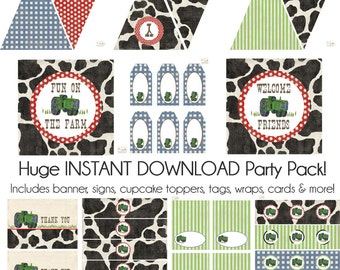 Tractor Party Decorations, Farm Party Decorations, Tractor Birthday Decorations, Tractor INSTANT DOWNLOAD Party Printables, BeeAndDaisy