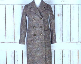 Vintage 90s Talbots wool felt leopard/cheetah print double breast winter coat/long fitted animal print jacket/4 petite