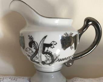 25th Anniversary Norcrest Fine China /Tea, Coffee Pot, Creamer