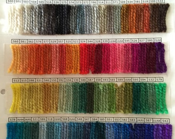 Color Chart for all the  Rauma Ryegarn Whipping Yarn colors
