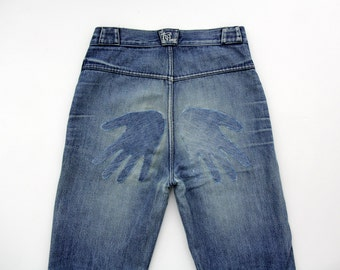 Vintage jeans // 70's highwaisted jeans with hand patches // S, M