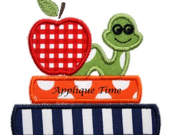 Instant Download Books and Worm Embroidery Applique Design 4x4, 5x7 and 6x10