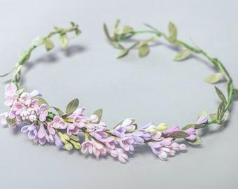 lilac headband, flower wreath, flower crown, bridesmaids crown, bride crown, lilac crown, bridal lilac, white wreath, custom bride jewelry