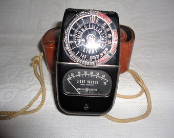 Vintage General Electric Exposure Light Meter With Brown Leather Case Photography Camera Accessory
