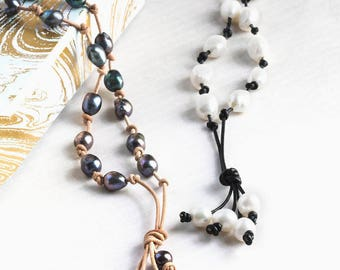 Tahitian Baroque style leather pearl bohemian necklace / pearl leather necklace for 3rd anniversary
