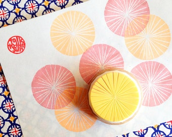 circle pattern stamp | texture rubber stamp | diy gift wrapping | spring crafts | gift for her | hand carved by talktothesun