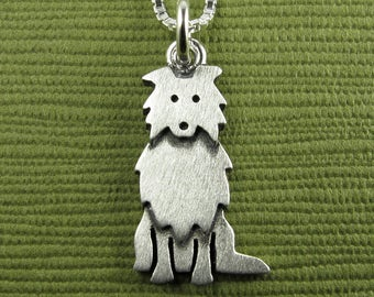 Tiny Collie (or Sheltie) necklace / pendant