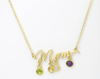 Mothers jewelry, Gifts for mom, birthstone charms, mother gemstone necklace, four kids, mom of four, personalized mommy necklace mom jewelry