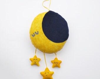 Lune et peluche étoiles mobile, cadeau bébé, cadeau chambre d'enfant, mignon, chambre à coucher, décor, lune, étoiles, doudou, chambre d'enfant, animal en peluche