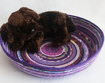 Cat Bed Furniture / Coiled Fabric Pet Bed / Rope Basket / Shallow Purple Basket / Coiled Clothesline by PrairieThreads