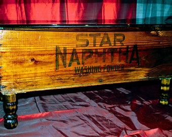 Stunning Upcycled Coffee Table - Star Naptha (Proctor & Gamble) Washing Powders Crate
