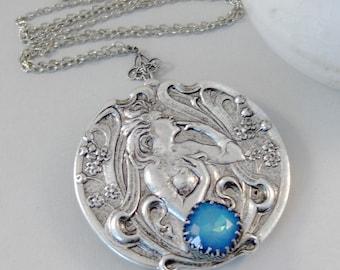 Wild Moon Freya,Locket,Moon Necklace,Moon Goddess,Moon,Blue,Goddess Necklace,Moonstone,Blue Moon,Locket,Silver Goddess Locket,Freya Locket