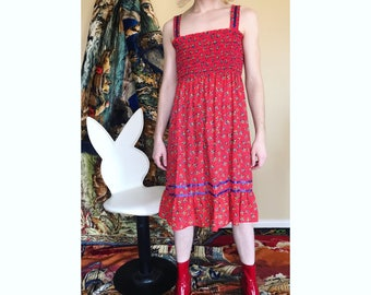70s floral cotton sun dress