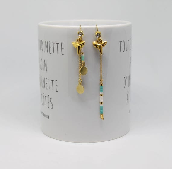 Long earrings, asymmetrical boho, turquoise and gold shark tooth charm