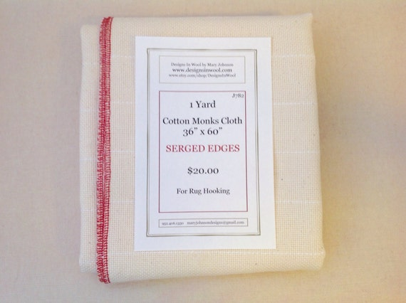 "One Yard Cotton Monks Cloth with Serged Edges, 36"" x 60"", J782, Rug Hooking Backing Fabric, Foundation Fabric"