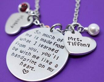 Teacher Necklace - Teacher Gift - Personalized Teacher Jewelry - Graduation Gift - Wnd of Year - Teacher Appreciation Gift - Custom