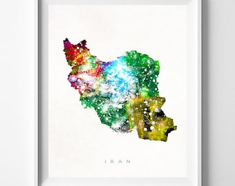 Iran Map Print, Tehran Print, Iran Poster, Living Room Decor, State Art, Giclee Art, Map Print, Travel Poster, Fathers Day Gift