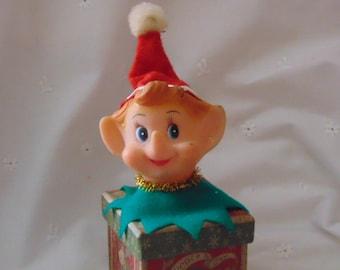 Christmas Elf, Felt, Fabric Elve, Made In Japan ,Christmas Ornament,  Mid Century Elf    C