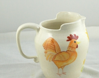 Ceramic Pitcher with Chicken White with red yellow rust orange green, hand thrown stoneware pottery, hand painted, Home decor, Chicken decor