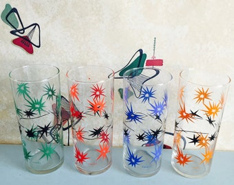 Set of 4 - French - Vintage - Retro - Atomic - Starburst - Glass - Slim Jim - Tumblers