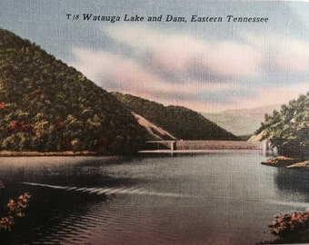 Vintage Tn Postcard Watauga Lake and  Dam TVA Dam Eastern Tennessee
