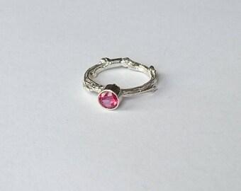 Sterling silver handmade twig style ring with 4m pink topaz, hallmarked in Edinburgh
