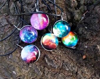 Galaxy Necklace // Round Galaxy Pendant Necklace // Space Necklace