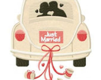 Just Married Car Includes Both Applique and Stitched