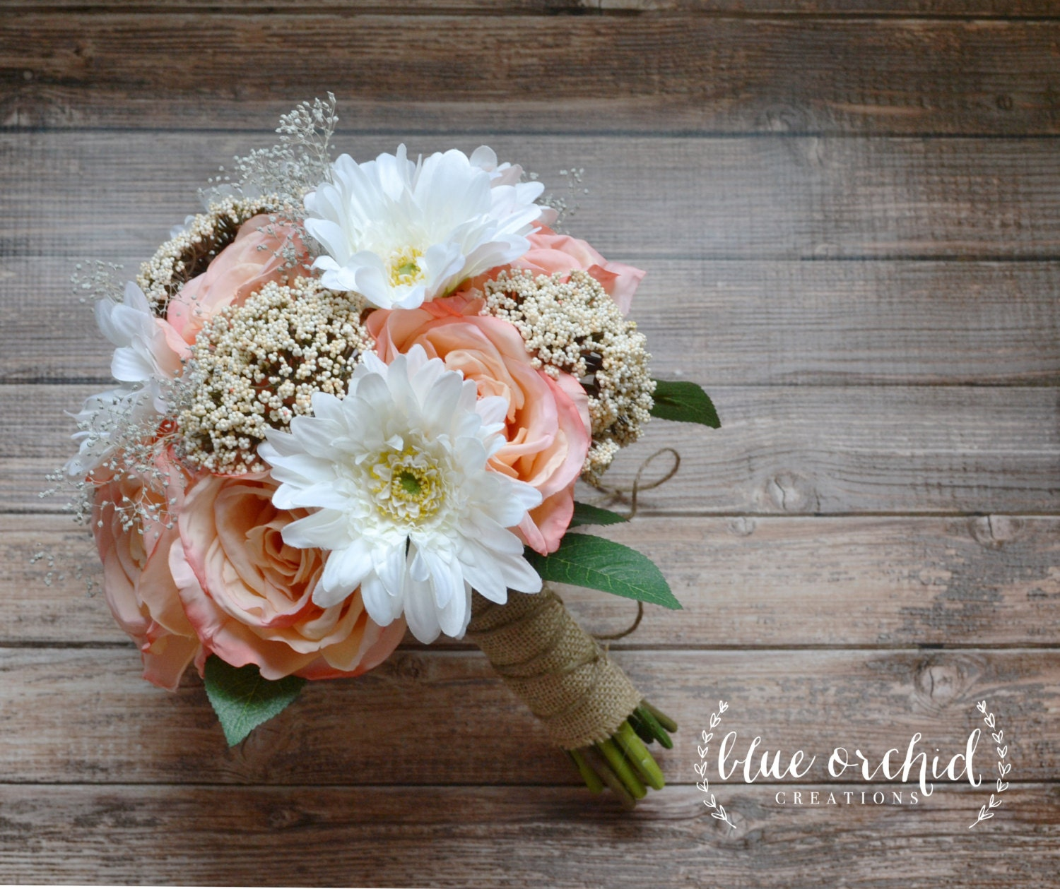 Daisy and rose wedding bouquet with burlap and babys daisy and rose wedding bouquet with burlap and babys breath izmirmasajfo Image collections